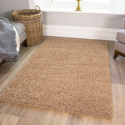 Cosy Fluffy Oatmeal Beige Shaggy Rugs Soft Furry Thick Non Shed Living Room Rug