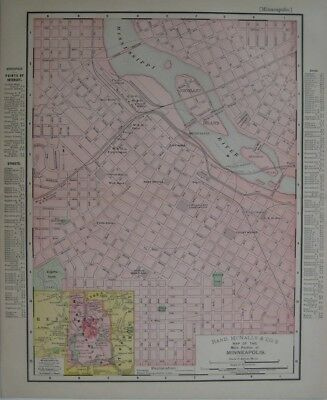Original 1895 Streetcar Map MINNEAPOLIS Minnesota Railroads Depots Bridges Parks