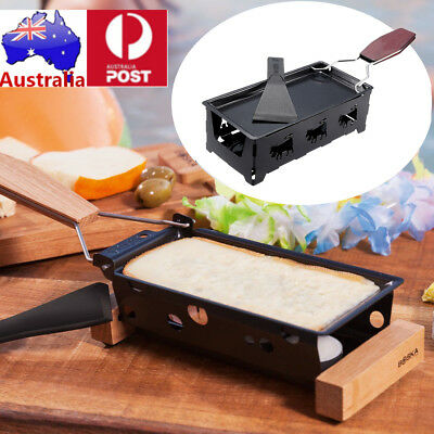 AU Iron Metal Non-stick Cheese Raclette Grill Plate Accessories w/ Handle Party