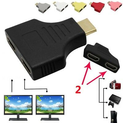 1080P HD HDMI Port Male to 2 Female 1 In 2 Out Splitter Adapter Converter 5Color