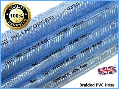 Reinforced CLEAR PVC Braided Hose Water Pipe Flexible Plastic Food Air Oil Tube