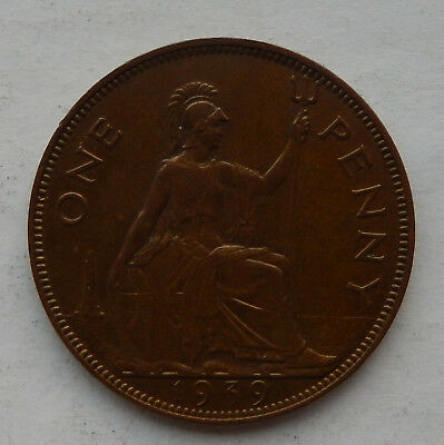 "1939 UK / Great Britain One Penny Coin KM#845 ""Higher Grade Coin""    SB5121"
