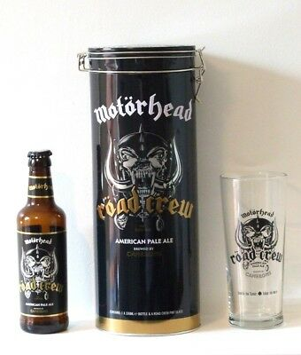 MOTORHEAD Road Crew Cameron pale ale gift tin, pint beer glass & bottle (empty)