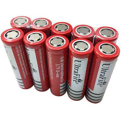 10X 18650 Batteries 6800mAh 3.7V Rechargeable Li-ion Battery Flat Top For Torch