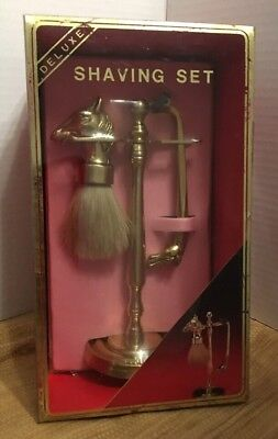 BRASS Shaving Stand Bristle Brush & Razor sets horse Head Handles