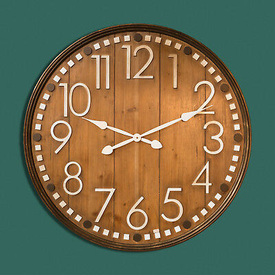 Extra Large Round Wooden Wall Clock with White Metal Numberals - By Hometime