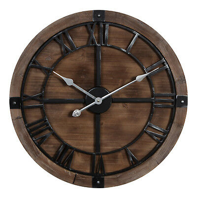 Extra Large Dark Wood Round Wall Clock by Hometime Clocks