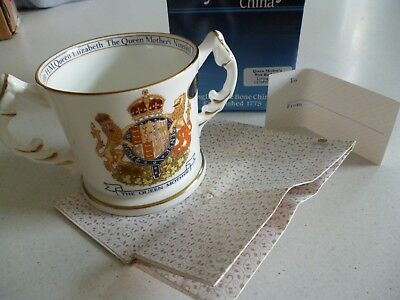 Aynsley China Loving Cup / Mug Queen Mother's 90th Birthday 1990 box, wrap & tag