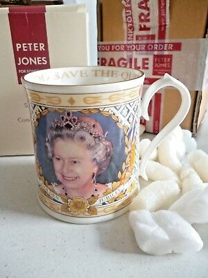 Aynsley Fine China Tankard / Mug Golden Jubilee Elizabeth II 1952 - 2002. boxed