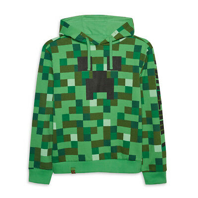 Minecraft Creeper Boys Pixel Gaming Hoodie Jumper Pull Over Sweater 6 - 14 Years