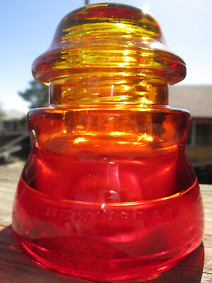 Vintage Hemingray 45 Orange Red Glass Insulator Colored / Stained CD 155