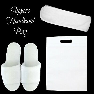 White Terry Towelling Spa Slippers Headband Bag Wedding Hotel Bridesmaid Favour