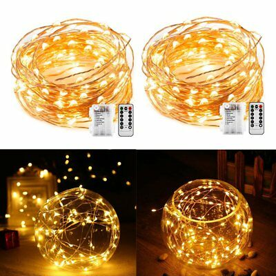 2 Pcs 5M 50 LED Flexible Copper Wire RGB Fairy String Light With Remote Control
