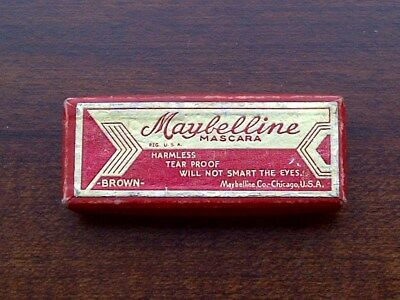"Vintage -- 1930's Maybelline Brown Mascara Depression Era Box -- ""collectible"""