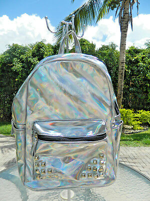 Authentic Zumba FUNKED UP BACK PACK Shiny Studded Irridescent Tote Gym Bag-EUC