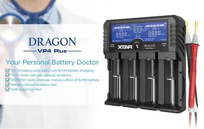 New XTAR DRAGON VP4 Plus LCD fast battery charger USB Output ( REFRESH / TEST )