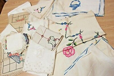 Lot of Antique napkins runners table cloth dresser scarf embroidery crochet