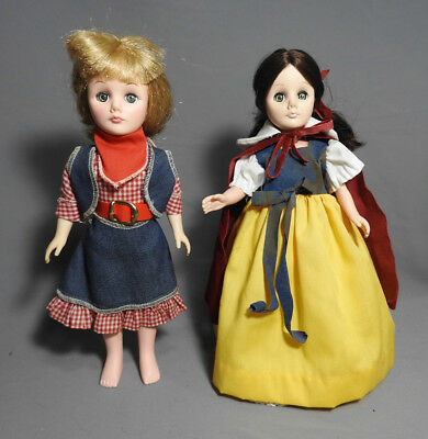Vintage Effanbee Snow Wight And Cowboy Girl Dolls 1970's Original Outfits Lot