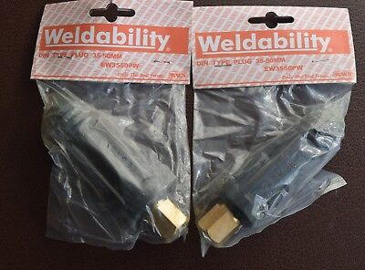 4  X WELDING CABLE PLUG - MALE DIN TYPE 35mm - 50mm