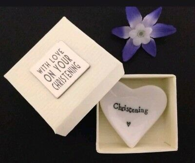East Of India Porcelain Mini Heart Dish With Love On Your Christening & Gift Box