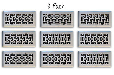 9 PACK 4x10 Satin Nickel Decorative Floor Air Vent Covers Grille Register Grate