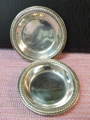 """2 Small Sterling Silver 3"""" Trays Hallmarked w/ a K H and a Lion Numbered 32"""