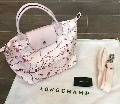 Longchamp Le Pliage Neo Fantaisie Nylon Tote Bag Sakura Floral Pink Small  New 1005e8bca8cb6