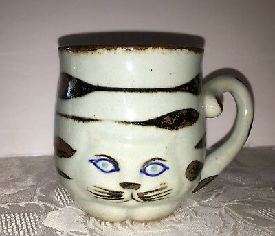 Vtg Takahashi CAT Mug Cup Hand Painted San Francisco Light Blue Striped