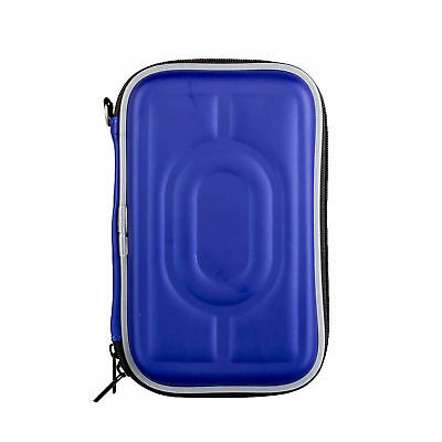 "External 2.5"" HDD SSD Storage Pouch Box Waterproof Protective Case Portable Blue"