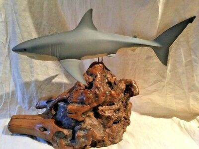 Large John Perry Shark Sculpture Of A White Shark With Burl Base