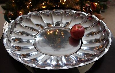 "Large Pewter/Armetale Glossy Oval Scalloped Server, Platter, 20""x15"", 5.2 lbs"