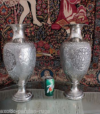 Pair Of Extra Large And Massive Antique Silver Isfahan Persian Vases Signed