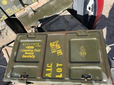 surplus army mine explosives boxes RARE LOOK!!
