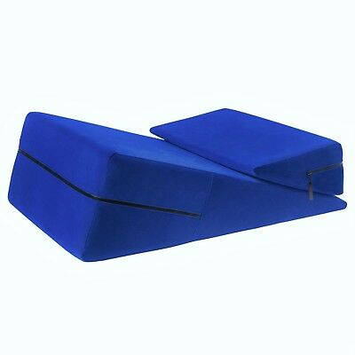 Blue Mattress Wedge Ramp Positional Pillow Combo for Intimacy or Medical Aid