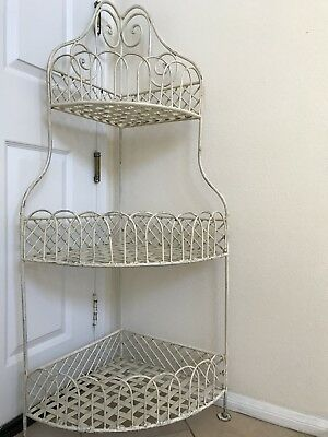 Antique Wrought Iron French Rustic Chic Garden Patio Porch Plant Stand