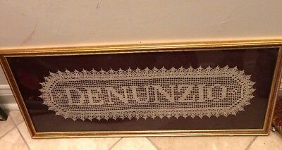 Piece Of Framed Lace Labeled Denunzio