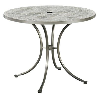 Home Styles Umbria Concrete Tile Round Outdoor Table, Grey