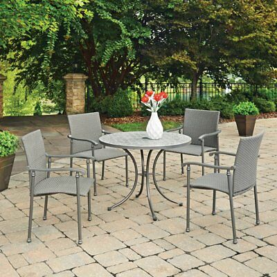 Home Styles Umbria Concrete Tile 5 Piece Round Outdoor Dining Set, Gray