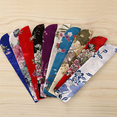 Exquisite Chinese Floral Hand Pocket Fan Bags Holder Silk Protector Case Cover
