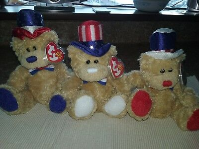 "Ty Beanie Babies "" Independence "" Bears (Set Of 3)  Red,white & Blue Versions"