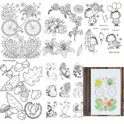 Cute Girl Transparent Silicone Clear Rubber Stamp Scrapbooking DIY Card Craft