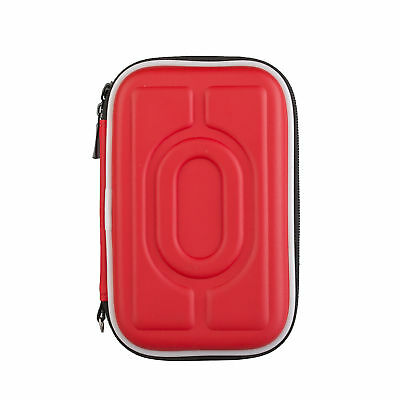 "Waterproof Zipper Bag 2.5"" Hard Disk Drive Carry Box Charger USB Cable Case Red"