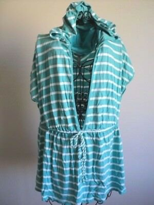 Old Navy Striped Swimsuit Cover with Hood , sz 2X