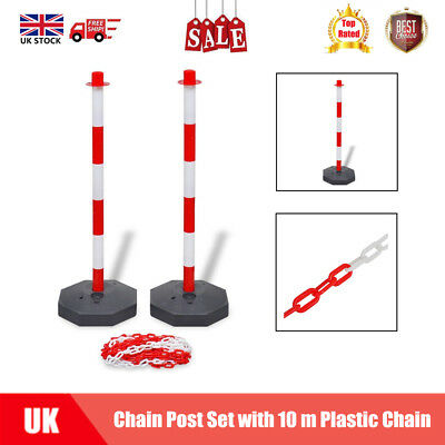 Chain Post Set 10m Plastic Chain Traffic Guard Safety Warning Sign Barrier UK