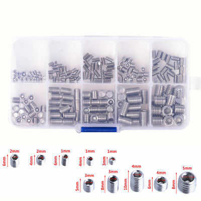 NEW 200pcs Stainless Steel Hex Socket Set Screw Grub Screws Assortment Kit M3-M8