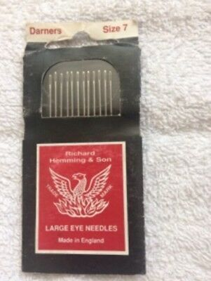 Richard Hemming & Sons Darners needles, size 7, new unopened