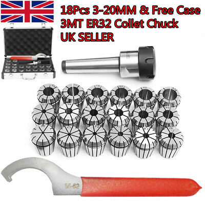 18X 3-20mm Precision MT3 Shank ER32 Collet Chuck Lathe Set Spanner KIT +Gift Box