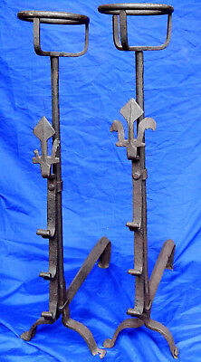 Huge pair of 17th century French wrought iron cresset-topped andirons circa 1625