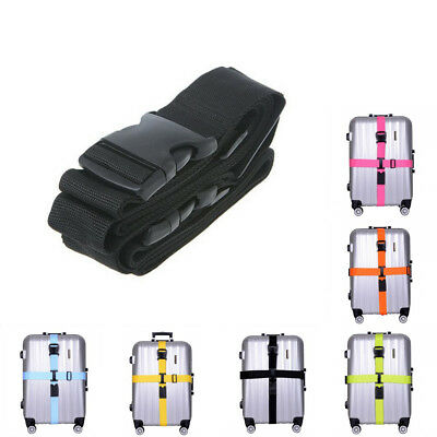 Adjustable Extra Safety Travel Suitcase Luggage Baggage Straps Tie Cross Belt