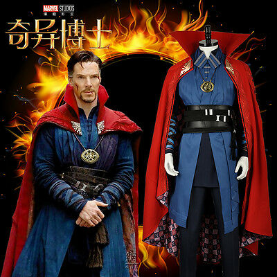 Dr Doctor Strange Cosplay Costume with Eye of Agamotto+Red Cloak Custom for Xmas